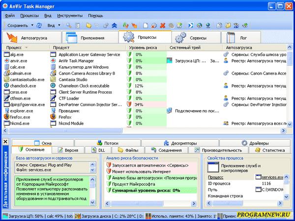 Программа для диагностики компьютера - AnVir Task Manager